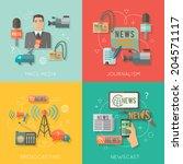 mass media journalism... | Shutterstock .eps vector #204571117