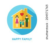 happy family flat concept icon... | Shutterstock .eps vector #204571765