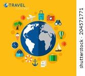 travel concept on orange... | Shutterstock .eps vector #204571771