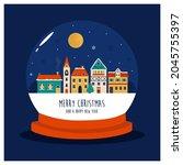 holiday christmas illustration...   Shutterstock .eps vector #2045755397