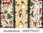 set of three christmas seamless ...   Shutterstock .eps vector #2045770127