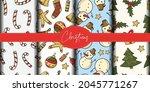 set of four christmas seamless...   Shutterstock .eps vector #2045771267