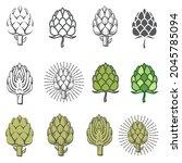 collection of artichoke bud... | Shutterstock .eps vector #2045785094