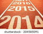 Small photo of Number 2015 on athletics all weather running track withe preceeding and following years. Happy new 2015 year. Running fast towards New Year.
