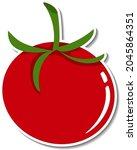tomato sticker on white... | Shutterstock .eps vector #2045864351