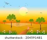 sun grass meaning meadows... | Shutterstock . vector #204591481