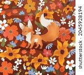 Cute Wolf Fox In Flower Forest...