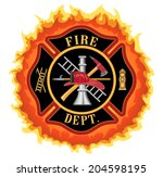 firefighter cross with flames... | Shutterstock .eps vector #204598195
