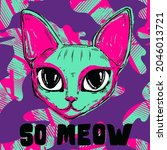 so meow t shirt design with big ...   Shutterstock .eps vector #2046013721