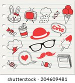 various stuff in doodle style | Shutterstock .eps vector #204609481