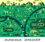 Set of vector icons for camping, outdoor activities and hunting. Landscape - stock vector