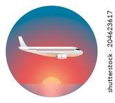 airliner against the setting...   Shutterstock .eps vector #204623617