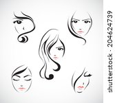 icon set of beautiful woman's... | Shutterstock .eps vector #204624739