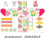 party set. gift box template. ... | Shutterstock . vector #204633619