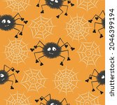 cute spiders and spider webs.... | Shutterstock .eps vector #2046399194