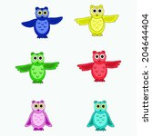 four colorful owls  | Shutterstock .eps vector #204644404