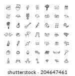 set of love icons  vector... | Shutterstock .eps vector #204647461