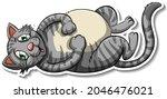 a sticker template of cat... | Shutterstock .eps vector #2046476021