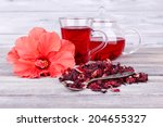 hibiscus tea in glass teapot... | Shutterstock . vector #204655327