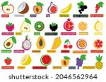 set icon of fruits and berries. ...