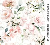 seamless floral watercolor... | Shutterstock . vector #2046634361