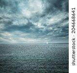 Sailing Boat At Stormy Sea....