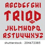font made of red triangles on... | Shutterstock .eps vector #204672385
