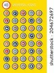 40 universal website flat icon...