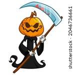 grim reaper pumpkin head... | Shutterstock .eps vector #2046736661