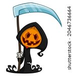 grim reaper pumpkin head... | Shutterstock .eps vector #2046736664