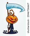 grim reaper pumpkin head... | Shutterstock .eps vector #2046736667