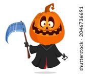 grim reaper pumpkin head... | Shutterstock .eps vector #2046736691