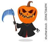 grim reaper pumpkin head... | Shutterstock .eps vector #2046736694
