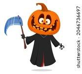 grim reaper pumpkin head... | Shutterstock .eps vector #2046736697