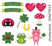 good luck symbols vector set.... | Shutterstock .eps vector #204675919