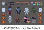 halloween pixel art vector... | Shutterstock .eps vector #2046768671