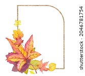 gold frame with colorful autumn ...   Shutterstock . vector #2046781754