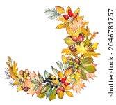 autumn demi wreath with...   Shutterstock . vector #2046781757