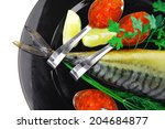 smoked fish with red caviar on...   Shutterstock . vector #204684877