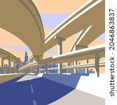 highway overpass and city...   Shutterstock .eps vector #2046863837