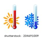 set of thermometers with red... | Shutterstock .eps vector #204691009