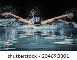 young man in swimming cap and... | Shutterstock . vector #204693301