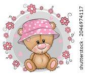 cute cartoon teddy bear girl in ...   Shutterstock .eps vector #2046974117