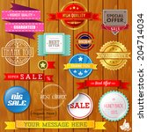 set of ribbons and labels on... | Shutterstock .eps vector #204714034