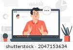 webinar concept illustration.... | Shutterstock .eps vector #2047153634