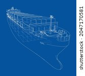 cargo ship with containers.... | Shutterstock .eps vector #2047170581