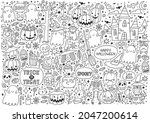 trick or treat coloring page.... | Shutterstock .eps vector #2047200614