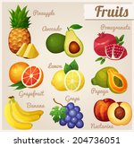 set of food icons. fruits. ... | Shutterstock .eps vector #204736051