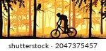 horizontal banner. silhouette... | Shutterstock .eps vector #2047375457