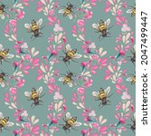 Seamless Background With Bees...